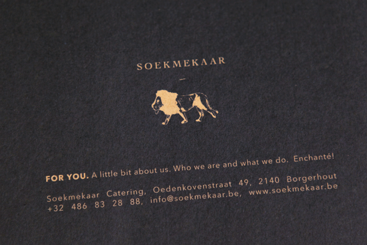 Soekmekaar Catering _ Art Directing, concept and lay-out for Soekmekaar Folder, stamp and cards Logo in cooperation With Lien Kockelbergh, Founder of Soekmekaar.  More information to be found here: .../Soekmekaar/