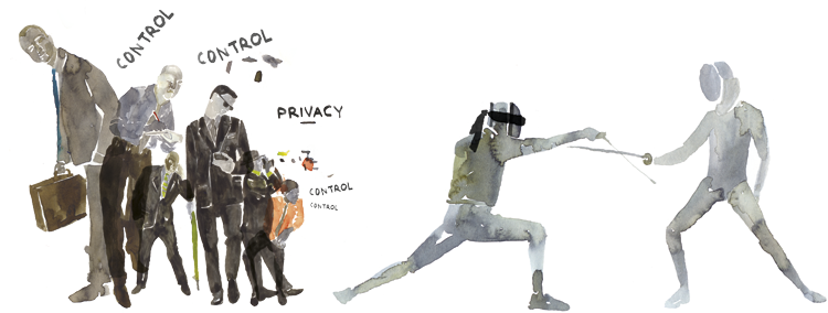 "DE MORGEN MAGAZINE ""HET PRIVACY RAPPORT""Illustrations for ""De Morgen"" newspaper spread over three editions. _More information here: …Het Privacy Rapport"""