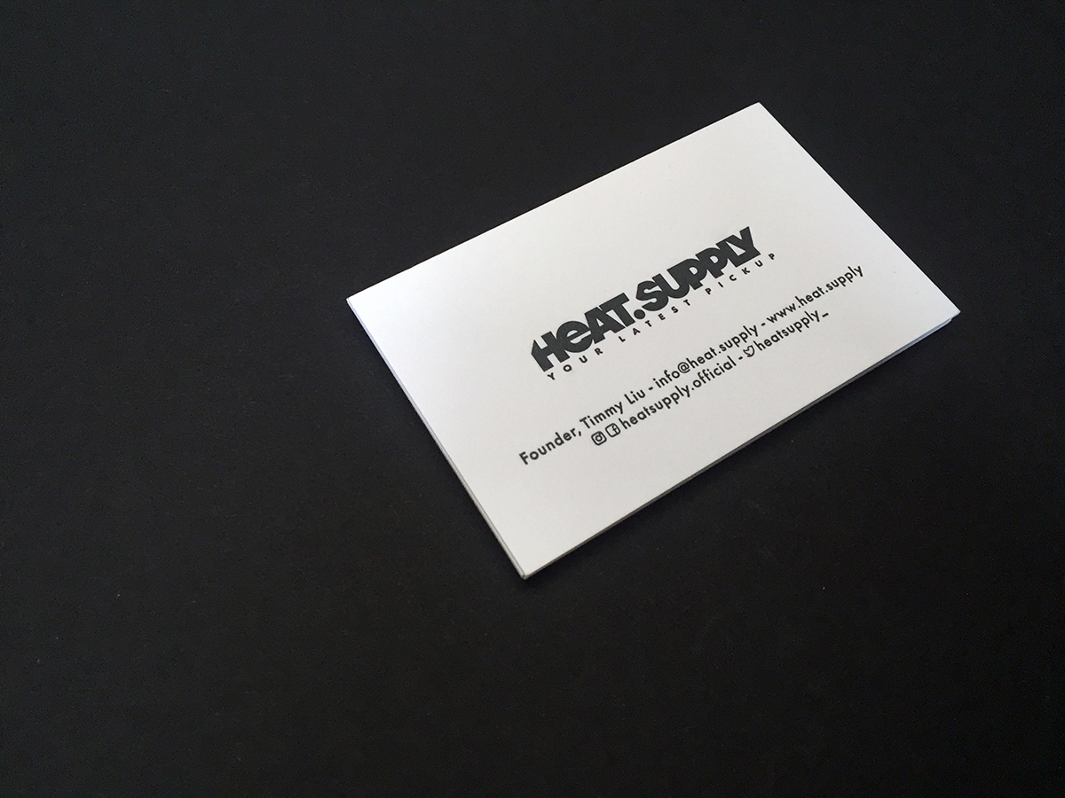 HEAT.SUPPLYLogo design, name cards and certification tags for an online sneaker platform, experienced in selling and buying limited edition sneakers.